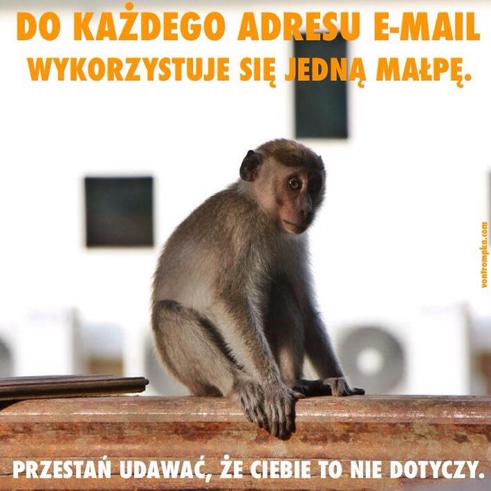 do każdego adresu e-mail wykorzystuje się jedną małpę. przestań udawać, że ciebie to nie dotyczy.