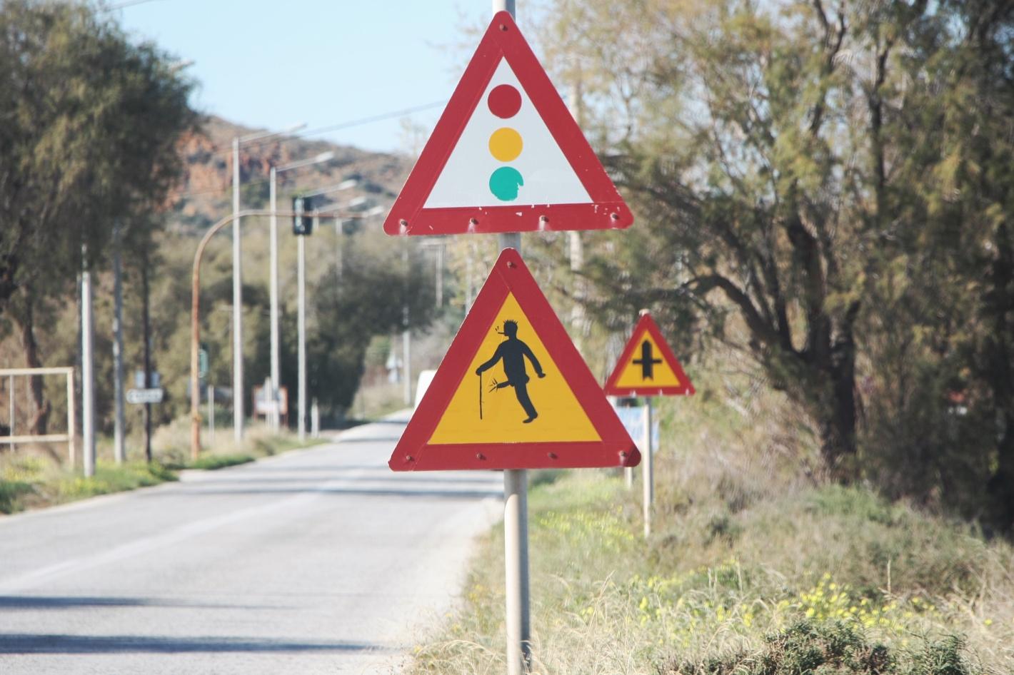 znaki ostrzegawcze, Grecja