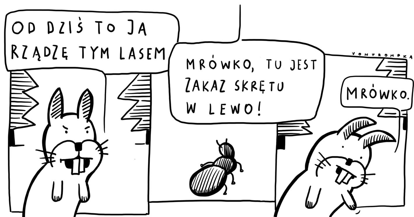 od dziś to ja rządzę tym lasem. mrówko, tu jest zakaz skrętu w lewo! mrówko.